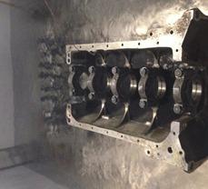 BMW 4 cylinder crankshaft and engine block soaking in liquid nitrogen, during cryo process