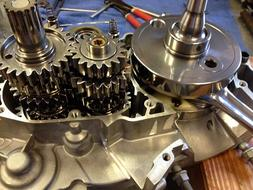 Honda XR-70cc dirt bike engine being assembled after cryogenic and REM-ISF™ Superfinish process