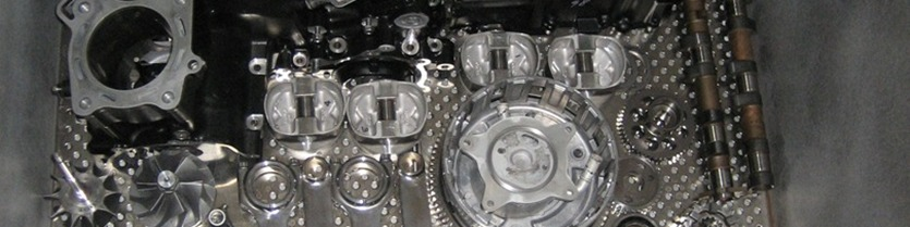 Kawasaki ZX-14 complete engine & transmission assembly loaded inside cryo-processor awaiting liquid nitrogen