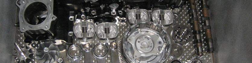 Kawasaki ZX-14 complete engine & transmission assembly loaded inside cryo-processor awaiting liquid nitrogen